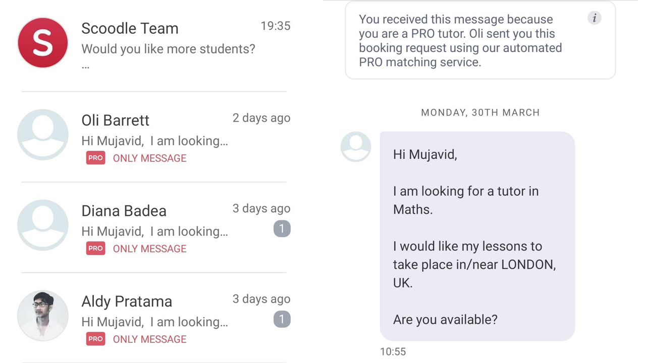 How do Scoodle Pro messages work?